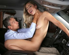 Latina slutty chick creampied in the car by her boss